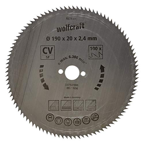 Wolfcraft 6276000 6276000-1 Hoja de Sierra Circular CV, 100 dient, Serie Azul diam. 190 x 20 x 2,4 mm, 190x20x2.4mm