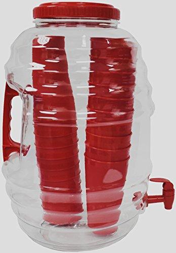 American Made American Maid 5 gallon RED Vitrolero Beverage Dispenser W/Tumblers Inside, 5 gal