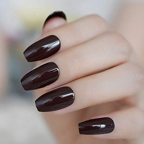 CLOAAE Solid Color False Nails Ballerina Nails Shiny Brown Nails On Nails