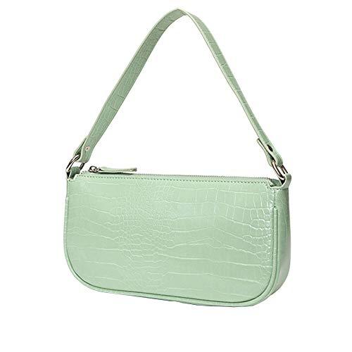 Youndcc Vintage Clutch Schulter Kleine Tote Handtasche Satteltasche Schwarz Mini Geldbörse mit Reißverschluss für Frauen, Grün (mintgrün), Einheitsgröße