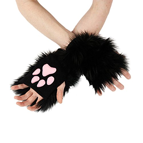Pawstar Classic Pawlets Fingerless Glove Paws Furry Cat Fox Cosplay - Black