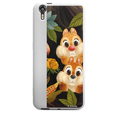 Silikon Hülle kompatibel mit HTC Desire Eye Case weiß Handyhülle Disney Chip und Chap Offizielles Lizenzprodukt