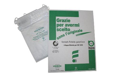 BaristaItaliano Confezione da 6 Sacchetti Originale per Folletto Vk 135 136, Aspirapolvere Vorwerk Originali