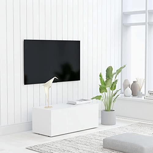vidaXL Mueble para TV Salón Comedor Mesa Centro Televisión Televisor Equipo de Música Armario Bajo Almacenaje Soporte Aglomerado Blanco 80x34x30cm