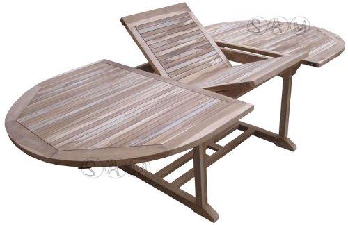 XXS® Möbel Gartentisch Aruba hochwertiges Teak Holz Schirmloch in der Mitte des Tisches ausziehbar natürliche Maserung pflegeleicht