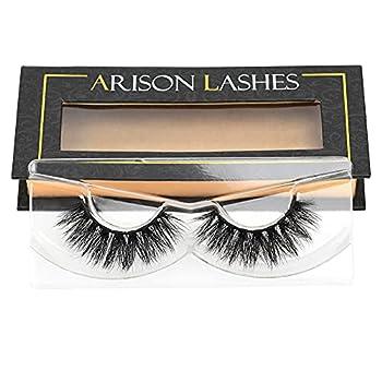 Arison 3D Mink Lashes Natural Look Fake False Lashes Wispy Mink Lashes Fluffy Strip Lashes Bulk Mink Eyelashes Dramatic Long Handmade Reusable Lashes 1 Pair Pack for Women Makeup  D008