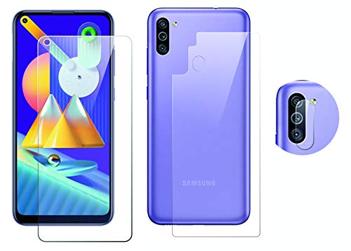 GEAR GUARD - GIVE LIFE TO YOUR DEVICE 9H Hardness Protector Including Front and Back Rear Camera Guard Screen Protector for Samsung Galaxy M11 (Transparent)