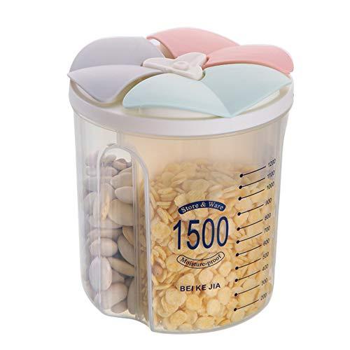 N / A Contenedor de Cereales de Plástico, Jarras de Almacenamiento de Plástico con Tapa Hermética Sin BPA para Cocina,Dispensador Almacenamiento de Harina Azúcar Arroz, 1500ml / 3 Rejilla