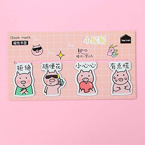 Bookmarks Bookmark Book Marks-Magnetic Bookmark Lovely Pig Shape Children Bookmark/Creative Fun Multipurpose/8 Piece Set (Color : No. 2)