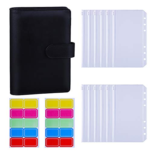 12PCS A6 Binder Pockets Bill Pouch Name Card Business Card Sleeves Pages Antner A6 6 Ring PVC Binder with Shiny Sequins Bundle