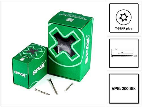 SPAX Fassadenschraube 4,5 x 70 mm Edelstahl A2 (0467000450703) 200 Stk Teilgewinde Mini Linsensenkkopf Torx T-STAR Plus T15 CUT