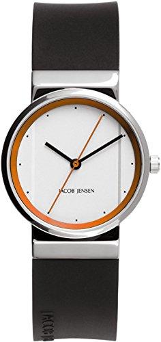 Jacob Jensen Damen Analog Quarz Uhr mit Kautschuk Armband 32765