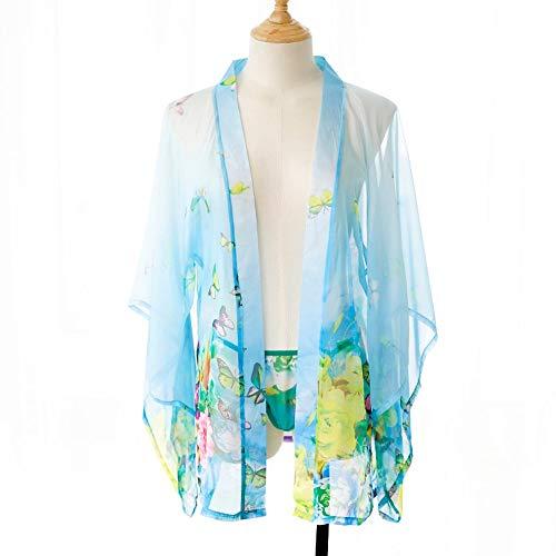 Vestito Sexy del Giapponese del Kimono di Prospettiva Chiffon di Stampa dello Schermo della germoglia di Seta delle Donne della Biancheria Sexy MJZHXM (Color : Blu)