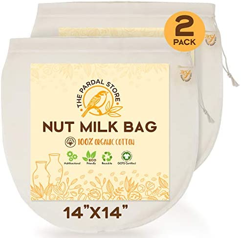 2 Pcs Of Nut Milk Bags For Straining XL14 x14 Reusable 100 Organic Cotton Nut Bag Easy To Clean product image