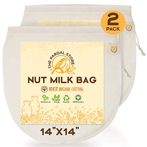 2 Pcs Of Nut Milk Bags For Straining - XXL 14x14 Reusable 100 Organic Cotton Nut Bag - Easy To Clean Easy To Use Nut Milk Bag For Celery Juice Oat Milk Almond Milk And Cheese Making