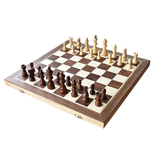 Chess Set 15quotx15quot Folding Magnetic Wooden Standard Chess Game Board Set with Wooden Crafted Pieces and Chessmen Storage Slots