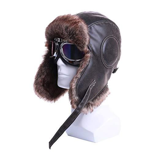 YUNGYE Bomber Chapeaux d'hiver Earflap Russe avec Le Chapeau de Trappeur Aviator Pilot Casquettes de Neige de Lunettes Hommes Femmes (Color : Brown Blue Goggles, Hat Size : L XL59cm61cm)