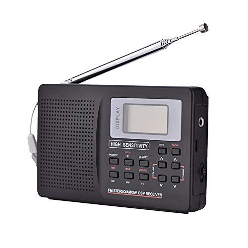 C- Mini-FM-Radio Unterstützung für tragbaren Radioempfänger FM/AM/SW/LW/TV-Sound Unterstützung für vollfrequenten Radioempfänger Wecker für ältere Menschen mit Kopfhörern
