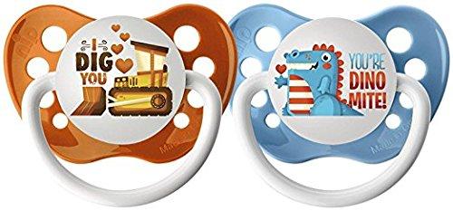 Ulubulu Lots of Love Pacifiers - Steamroller & Dinosaur - 2 pk - 00