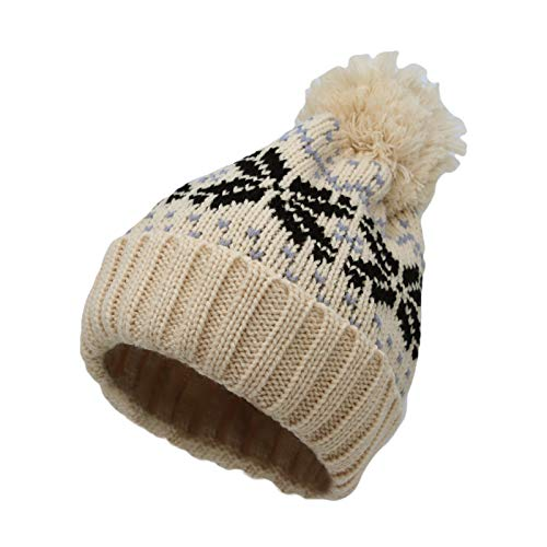 WITHMOONS Knit Fairs Isle Nordic Bobble Pom Beanie Hat JZP0027 (NordicIvory)