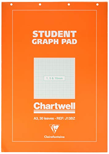 Clairefontaine Chartwell Grafik-Pad, 1,5 mm, 10 mm, A3, 50 Blatt, grauer Deckel