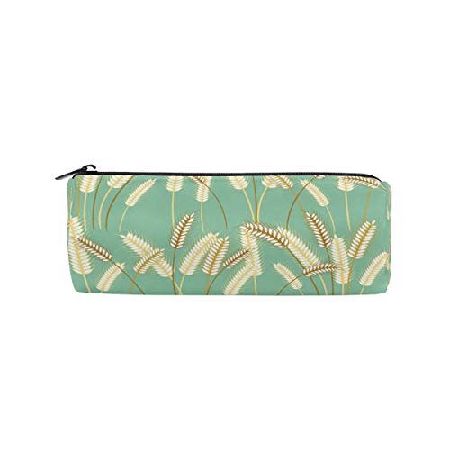 Federmäppchen mit Pflanzenmotiv und Gerstengras, für Kinder, Jungen, Mädchen, Schüler, Stifttasche, Schultasche, runde Make-up-Tasche