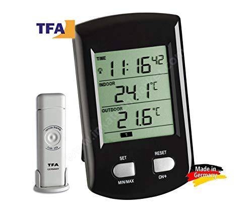 "TFA Dostmann 30.3034.01 ""Ratio"" / Thermomètre radio pilotée (noir avec batteries)"
