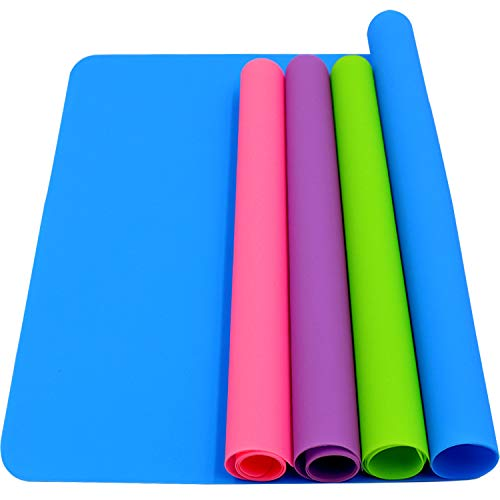 HiGift 4 Pack Silicone Mats for Crafts, Silicone Sheet for Crafts Resin Jewelry Casting Mat Pad, Waterproof Nonstick Heat-Resistant, Blue, Pink, Purple, Green (15.7'' x 11.8'' & 11.6'' x 8.3'')