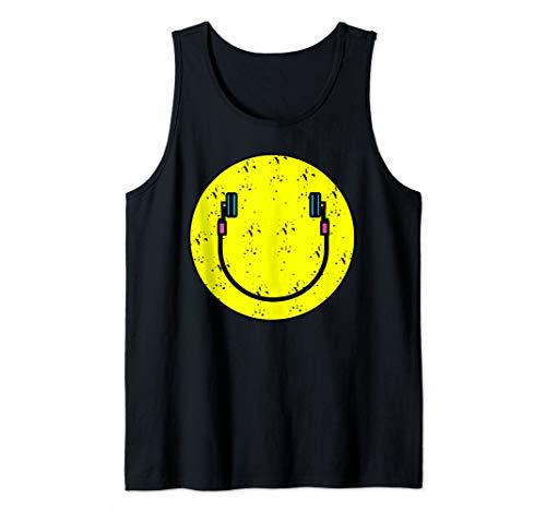 Smiley Face DJ Headphone Art - Cool I Love Music art Gift Tank Top