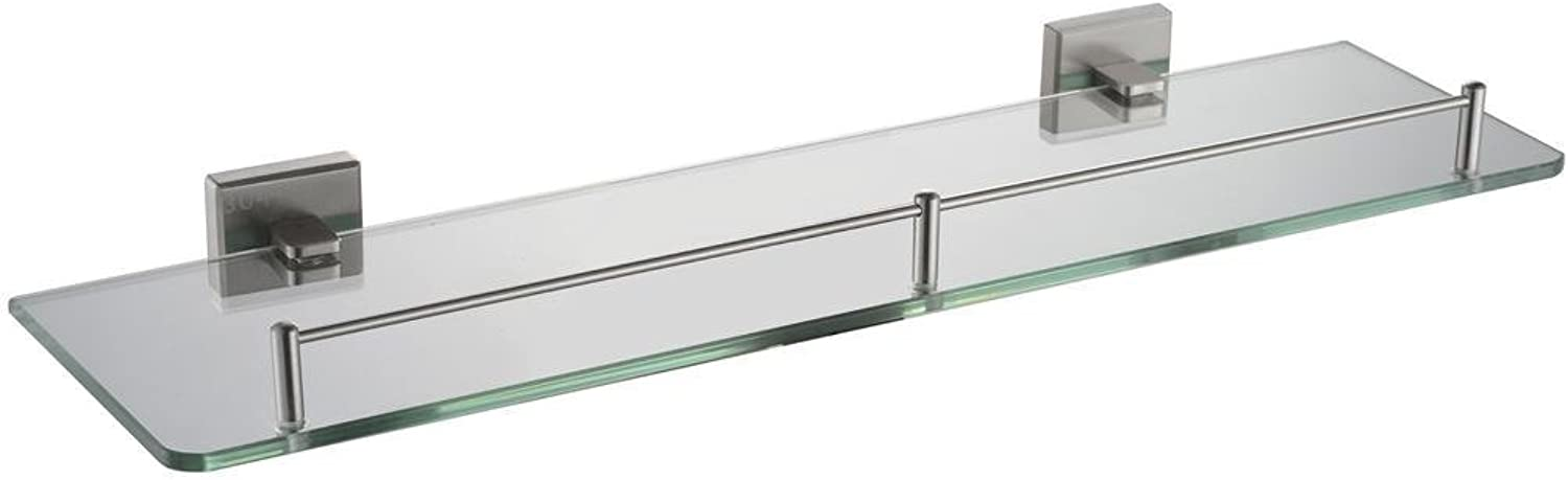 NEWBIAO 20-Inch Wall Mounted Glass Shelf,Bathroom SUS304 Stainless Steel,Nickel