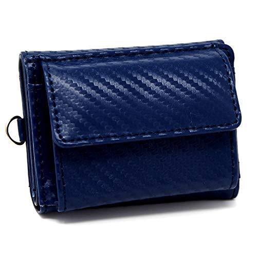 ミニ財布 メンズ レディース [TomCollins] 人気 カーボン レザー 大容量 カード21枚 札入 鍵入 小銭入 父の日 プレゼント ギフト