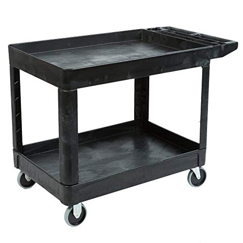 Rubbermaid Commercial Products 2-Shelf Utility/Service Cart, Medium, Lipped Shelves, Storage Handle, 500 lbs. Capacity, for Warehouse/Garage/Cleaning/Manufacturing (FG452089BLA)