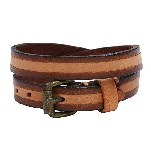 XQxiqi689sy Bracelet Bangle Vintage Unisex Double Layer Cowhide Cuero Wristband Circlet Party Regalo Marrón oscuro