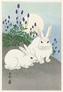 Imagekind Japanese Wooblock Poster Print Entitled, Rabbits at Full Moon by Ohara Koson