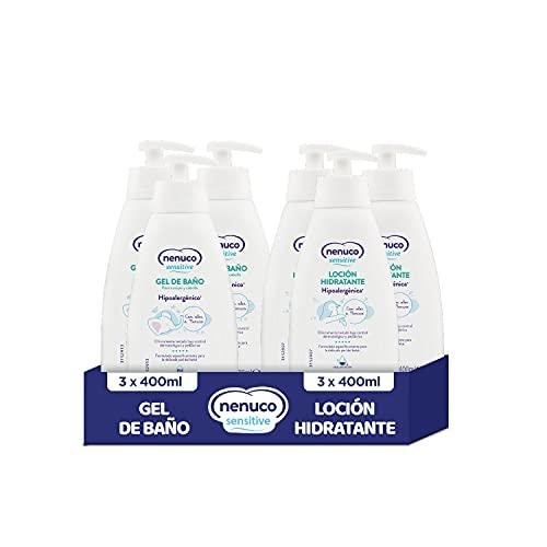 Nenuco Sensitive Pack Gel de Baño Hipoalergénico para Bebé 3x400ml + Loción Hidratante Hipoalergénica 3x400ml - Con olor a Nenuco