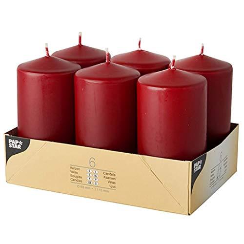6 Stumpenkerzen Ø 60 mm · 115 mm bordeaux. DW17993