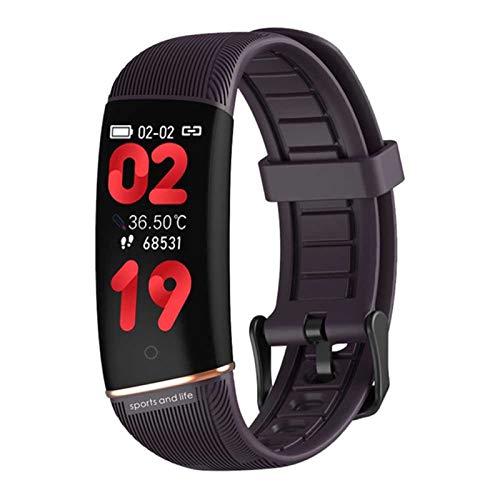 BFL E98 Medición De Temperatura De Reloj Inteligente, Rastreador De Fitness De Frecuencia Cardíaca, Podómetro, Monitoreo del Sueño, Mujeres Y Pulseras Inteligentes para Hombres,E