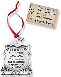 Pewter ORNAMENT for POLICE Officer MAN WOMAN - CHRISTMAS Gift Inspirational Message BOXED Thankful