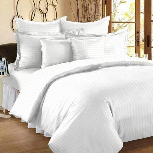 Linenwalas 300 TC Double Bed Stripes Cotton Quilt Cover -White Stripes - Duvet Cover