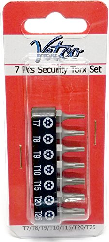 VETCO 7-Piece Security Torx Bit Set T-7, T-8, T-9, T-10, T15, T20