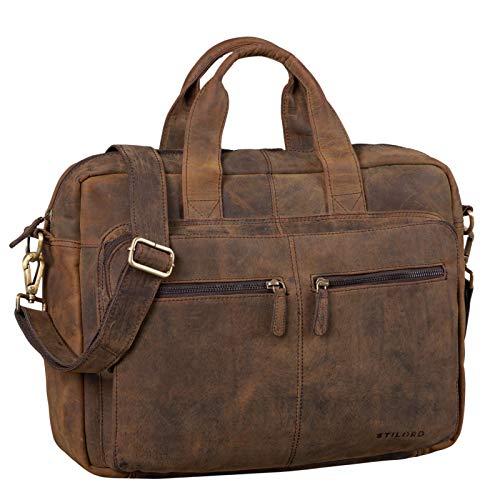 STILORD 'Leandro' Ledertasche Herren Laptoptasche 15.6 Zoll braune Messenger Bag multifunktional tragbar als Handtasche Umhängetasche Trolley Aufsatz Vintage Leder, Farbe:Colorado - braun