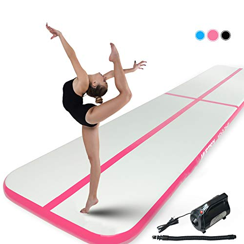 "Murtisol 10/13/16/21/24/27/34ft Inflatable Gymnastics Training Mats Tumbling Mats 4/6 Inch Thickness for Home Use/Training/Cheerleading/Yoga/Water Fun with Electric Pump (Pink, 10'(3.3')4"")"