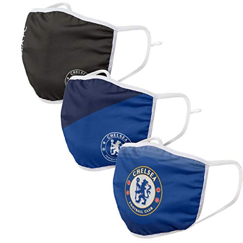 Forever Collectibles UK CHELSEA FC 3 PACK FOOTBALL PREMIER LEAGUE CHAMPIONSHIP ADJUSTABLE PRINTED FACE MASKS