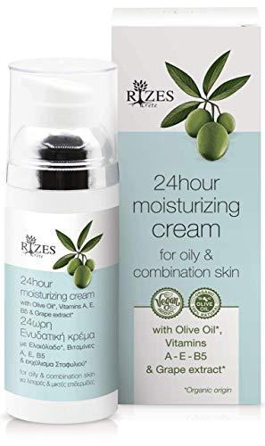Original Rizes 24-Stunden-Feuchtigkeitscreme für fettige Haut und Mischhaut mit Olivenöl, Traubenextrakt und Vitamin A, E und B5