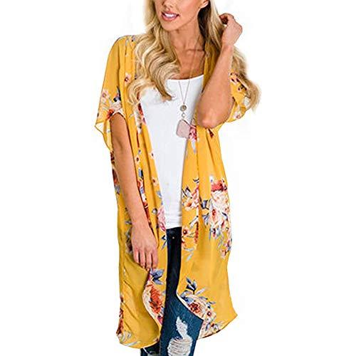 YYH Dames Cardigan Beach Cover Up en de grootte van de meeste dames Cardigan Chiffon bloemenprint vooraan open Kimono Summer Fashion sjaal M Geel