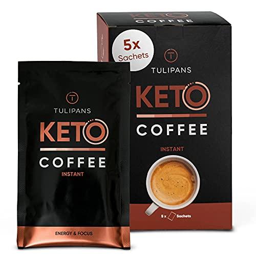 Tulipans Keto-Kaffee für extra Energy-Boost ohne Zuckerzusat   Keto-Coffee aus 100% Arabica Bohnen, Butterpulver und MCT Pulver   Bulletproof MCT Kaffee für Keto-Ernährung   5x20g Portionsbeutel