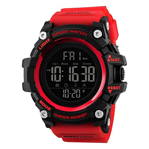 Herrenuhr Multifunktionale Mode Countdown Multifunktionale Kreative Stoßfest Nachtlicht Elektronische Sport wasserdichte Uhr, Gules Watch