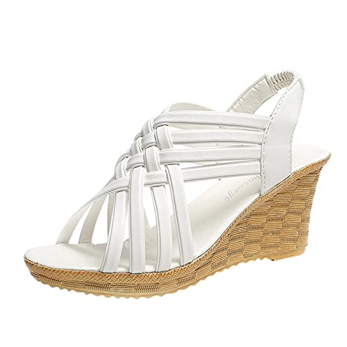 Fullwei Wedge Sandals for Women,Women Summer Platform Wedges Ladies Gladiator Open Toe Hollow Out Ankle Strap Beach Walking Dress Shoes (White, 8)