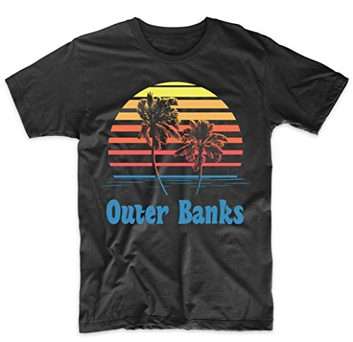Heren T-shirt Retro Outer Banks North Carolina Sunset Palm Trees Beach Vacation - - XX-Large