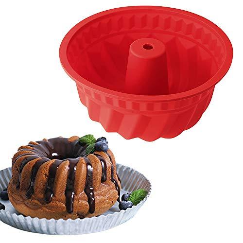 Xinlie Molde Redondo para Savarin de Silicona Molde para Budnt Cake Molde Bizcocho Savarín Molde Savarín Original Molde para Cocina de Silicona para Hornear Tartas, Pan, Hornear Pudding